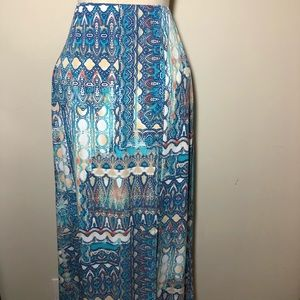 Chico's Sz 0 maxi skirt tribal Aztec blue white S